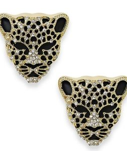 Thalia Sodi Black Crystal Jaguar  Stud Earrings
